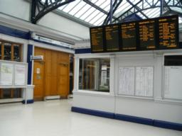 Arrival and departure board plus disabled toilets. General toilets exist on the opposite platform over the bridge.