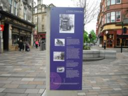 Information board located near the end of the pedestrianised area.
