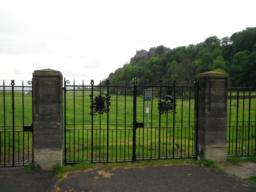 Entrance to the King's Knot with Stirling Castle in the background.
