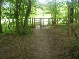 A gate leads to the footpath system in the surrounding countryside