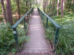 Wooden bridge is excellent condition. 1.5 metres wide; hard, even surface. Flush access on and off bridge.