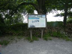 Information board detailing the history of Damflask village, formerly standing on the site of the current reservoir.