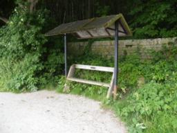 Bench with shelter.