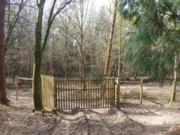 The track drops downhill for another 300m until a gate through a deer fence is found.