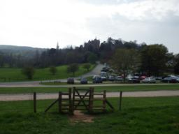 There is a gate (90cm) just above the car park.  The trail keeps to the left of the car park, following a tarmac surface for 100m.
