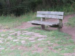Seat at river bank and end of outward leg of walk lacks armrests and the area of large stones in front of the seat will make it difficult to access.