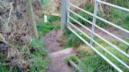Or you can squeeze around the gate post on the left, there is a small step down.  Width of gap is 60cm.  Beware of the cattle grid.