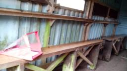Seating in bird hide.  Bench seating is 67-68cm high and 20cm wide.  The viewing windows  are 126cm high.  The floor consists of wooden planks.
