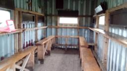 Bench seats are 67cm high.  Window is 130cm high.  There are wooden shutters that need lifting and attaching with bolts on left or right side.  Please close on leaving.