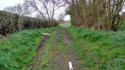 Incline of 5.9 degrees/ 10.4%.  Beware of vehicle ruts along this path.
