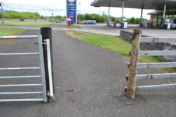Gates 1500mm wide, on either side of entrance and exit to busy petrol station. Back to 6m wide road after this.