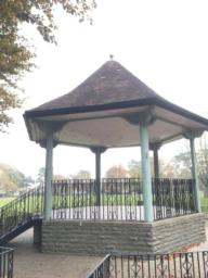 Bandstand with lots of seating around.