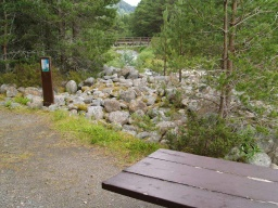 The second picnic area gives good views of the mountain stream and a bridge across it.