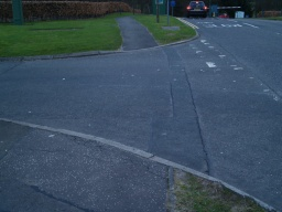 Further drop kerbs are provided as the path crosses minor roads in the Innovation Park.