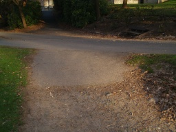 As the stone path links to the tarmac there is a 1m gradient of 19% (1:5).