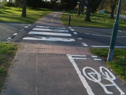 All road crossing have pedestrian crossings.