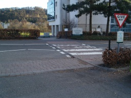 The main car park of the university, which has disabled parking spaces, is for staff, students and visitors to the university. The trail can be reached from this point by leaving the car park across the pedestrian crossing.