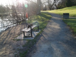 The seats are usually provided where there are good viewsThe path to the right leads to the entrance via the Innovation Park and the bus stops near the Wallace Monument.
