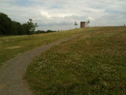 There is a slope with a gradient of 14% (1:7) for about 40m to get up onto the hill