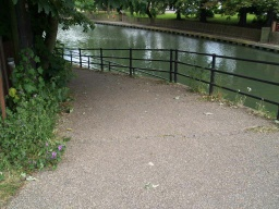 The start of this route to the Amwell Quarry bird hides is this ramp from the B181 , Station Road , St Margarets. It has a gradient of about 7% (1:14 for 40m)