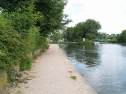 Most of the tow path is wide enough for two people to walk side by side.