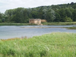 The new White Hide with its ramp can be seen across the navigation on the far side of the nature reserve