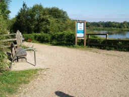 The view point across the Great Hardmead Lake towards the White Hide has a seat and information board near by.
