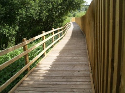 The path to the White Hide follows the board walk to the side of the two level hide.