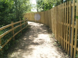 The path and ramp to the White Hide are screened from the reserve to minimise disturbance to wildlife