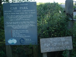 Information about the walk along the embankment is available on the sign by the gate
