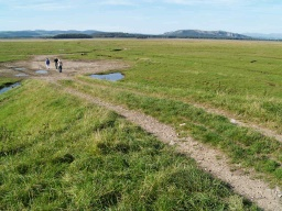 A ramp with an uneven surface runs to the saltmarsh. The gradient is about 9% (1:11) for 25m.