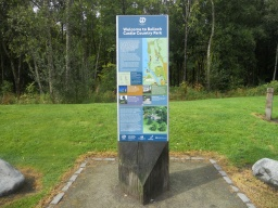 A map board at the path entrance provides visitor information and orientation. This route follows the Southern Route (marked in yellow).