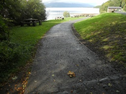 The path descends gently (3% 1:33) to the Slipway.