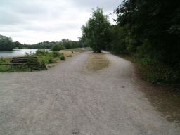There are two tracks for part of the way around the lake. The trail follows the path on the left, nearer the lake. The other track is a cycleway with a good surface but it is not quite as even as the trail path.