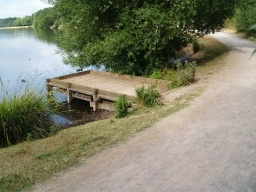 Some fishing platforms have steps onto them.