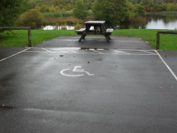 There is a large accessible parking bay