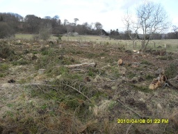 Where the trees have been felled there are views across the surrounding countryside.