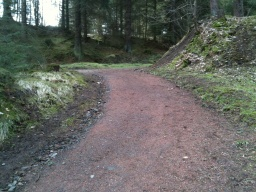 The path slopes for about 5m with a gradient of 13% (1:8) and a part as steep as 15% (1:7).