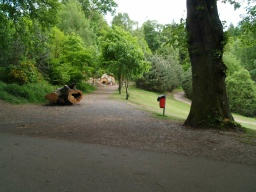 Turn right onto the forest track. The surface changes to a crushed stone path which has a firm surface throughout.