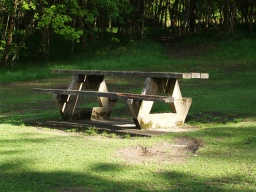 There are some picnic tables close to the path.