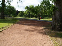 Approaching the tarmac track there is  a step on to it (40mm high).Turn left on the tarmac track to pass the front of Callendar House and return to the kiosk, disabled toilets and main car park.