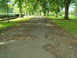 The path's tarmac surface is broken and uneven in this section.