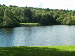 There are fine views across the lake. The path that is followed by the Callendar Lakeside Phototrail can be seen.