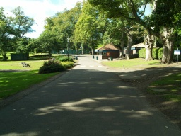 The cafe and toilet block are next to an open picnic area.