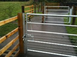 The gates open both ways and have easy to use latches.