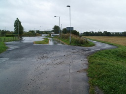 The end of the trail is at Alloa West Business Park. The road and pavement ahead lead to Smithfield Loan about 200m away.