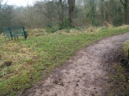 Another seat is close by. The path is about 1.2m wide for most of its length.