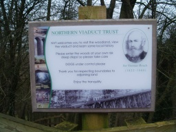 Details of the North Viaduct Trust are provided on a sign by the viaduct.