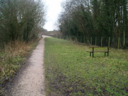 One of the seats provided give a view straight down the old railway line to the second viaduct.