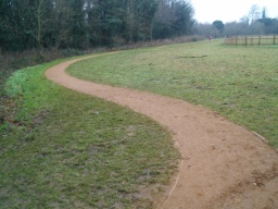 The path continues with this surface and width until it rejoins the wide track through the centre of the park.